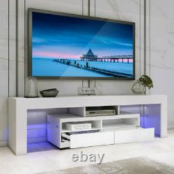 TV Stand High Gloss Entertainment Unit Console Cabinet with LED Lights for 70'' TV