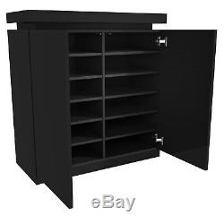 Tiffany Drinks Cabinet in Black High Gloss With LED Lighting BUN/TIFF022A/75169