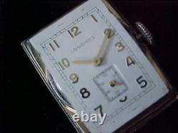 Vintage Long Rectangular Curved Lug Longines Wristwatch In High Domed Brass Box