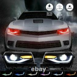 Vland RGB LED Headlights Multi Color DRL Sequential Turn Signal for 14-15 Camaro