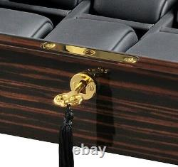 Volta High Gloss Ebony Wood Finish 8 Watch Box Storage Display Case Glass Top