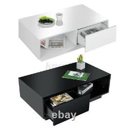WOODY High Gloss LED Coffee Table with 2 Drawers Modern Side End Table Storage