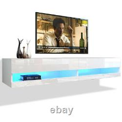 Wall Mounted Floating TV Stand High Gloss 80 TV Cabinet Console With Led Lights