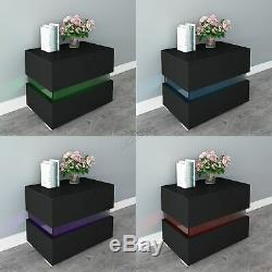 WestWood Bedside Cabinet High Gloss Table Nightstands 2 Drawers LED Light BCU15