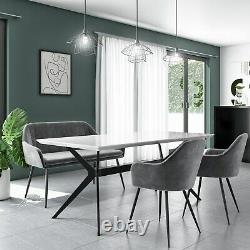 White Gloss Dining Table with Grey Velvet High Back Dining Bench and 2 Dining Ch