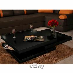 3 Table Basse Couche Coulissante Tiers Moderne High Gloss Rotating Niveau De Stockage Bricolage