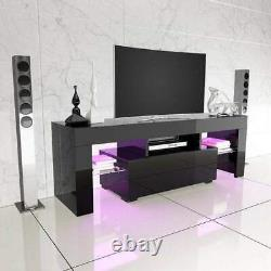 51 Meubles High Gloss Black Tv Stand Cabinet Console Unit Furniture Withled Shelve Drawer