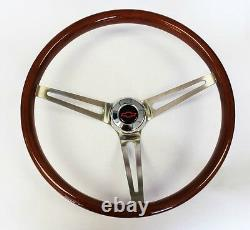 60-69 Chevy C10 Pick Up Polish Steering Wheel Wood 15 High Gloss Grip Red/blk