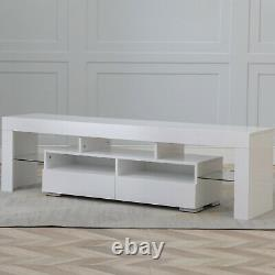63 Tv Cabinet Stand Unit Media Console High Gloss Table Pour 70 Pouces Led Lights