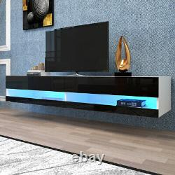 80 Floating Tv Stand Wall Mounted Tv Cabinet High Gloss Tv Console Avec Lumière Led