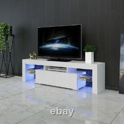 High Gloss 63 '' Support Tv Meuble De Rangement 2 Tiroirs Console Table Withled Lumière Blanche