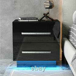 High Gloss Nightstand Withled Rgb Light 2 Tiroirs Moderne Table De Chevet End Chambre
