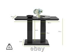 Imperia Black High Gloss Dining Table Set & 4 Chrome Faux Leather Dining Chairs