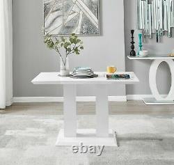 Imperia White High Gloss Dining Table Set & 4 Chrome Faux Leather Dining Chairs