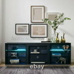 Moderne 63in High Gloss Tv Cabinet Stand Unit Console Led Light Pour 70in Tv Home