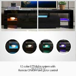 Moderne High Gloss Tv Unit Cabinet Stand With Led Lights 2 Drawers Shelves Home A