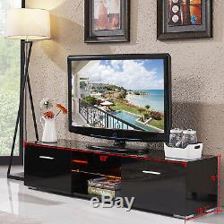 Noir Laqué Led Tv Stand Cabinet Console Withshelves 2 Tiroirs