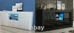 Sideboard 3doors High Gloss Armoire Storage Tv Unit + Led Light