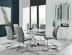 Sorrento White High Gloss Chrome Table Set Et 6 Faux Leather Chairs Seat