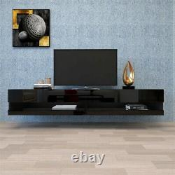 Tv Stand Floating High Gloss Withled Lights Storage Shelve Home Furniture 80
